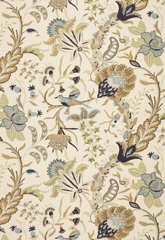 Westbourne Grove Mineral 1326002 by Schumacher Fabric - Linen, Cotton - Horizontal: 27 and Vertical: 54 - Fabric Carolina - Textiles, Textile Prints, Textures Patterns, Fabric Patterns, Chinoiserie, Pattern Texture, Motif Art Deco, Art Chinois, Fabric Design