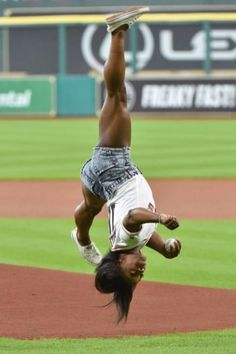 Simone Biles Threw a First Pitch That Solidifies Her Status as a Gymnastic Goddess