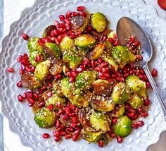 Burnt sprouts with pomegranate & sesame recipe Sprout Recipes, Veg Recipes, Healthy Recipes, Vegetarian Recipes, Sesame Recipes, Pomegranate Recipes, Pomegranate Molasses, Pomegranate Seeds, Sprouts With Bacon