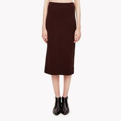 Zip Houndstooth Knit Pencil Skirt