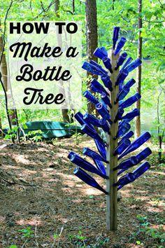 {Mom's Garden} Blue Bottle Tree - Southern State of Mind bottle tree diy garden art Blue Bottle Tree- Mother's Garden Bottle Art Wine Tree, Wine Bottle Trees, Wine Bottle Art, Blue Bottle, Wine Bottle Crafts, Wine Bottles, Wine Bottle Garden, Bottle Bottle, Wine Corks