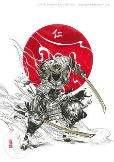Japanese Art Samurai, Japanese Artwork, Japanese Tattoo Art, Japanese Tattoo Designs, Samurai Drawing, Samurai Artwork, Arte Ninja, Ninja Art, Fantasy Character Design