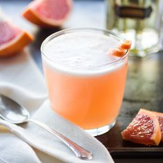 Pink Grapefruit Vieux Mot by bonjongourmet: Pink grapefruit juice + St. Germain + gin + Meyer lemon juice + simple syrup + grapefruit twist! #Cocktail #Grapefruit