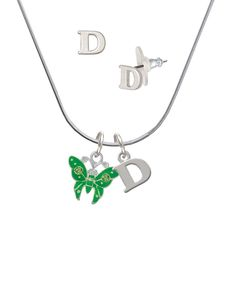 Lime Green Butterfly with 2 Lime Green Crystals - D Initial Charm Necklace and Stud Earrings Jewelry Set * Want additional info? Click on the image. (This is an affiliate link and I receive a commission for the sales)