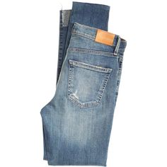 Citizens Of Humanity High Rise Rocket Hi-Low Hem Jean (2 280 SEK) ❤ liked on Polyvore featuring jeans, bottoms, highwaist jeans, high rise jeans, citizens of humanity jeans, high waisted ripped jeans and destructed jeans