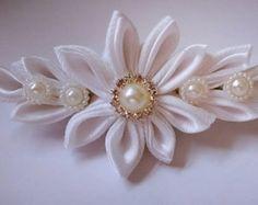 Tiara White Swan kanzashi wedding bridal by MarleanFT on Etsy