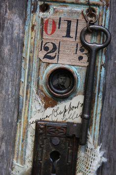 Escutcheon Plate Door Hardware Assemblage Art By VintageSupplyCo
