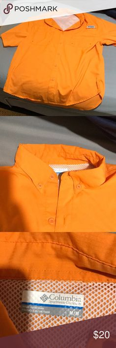 Orange Columbia PFG short sleeved Button Down Great condition! Columbia Shirts Casual Button Down Shirts