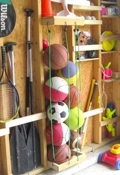 Here are some brilliantly clever garage organization tips! Clean up all the junk in your garage with these unique and creative ideas! Never misplace anything in your garage again with these guide to the perfect storage space. Diy Garage Storage, Garage Organization, Storage Ideas, Organization Ideas, Organized Garage, Organizing Tips, Shelving Ideas, Sports Organization, Cleaning Tips
