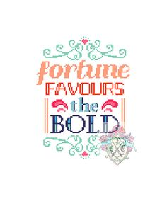 Fortune Favours the Bold. Typography Cross by plasticlittlecovers, £3.50