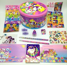 Vtg Lisa Frank Kitty Cats Easter Egg Tin Stickers Pencils Notebook +More Animals #LisaFrank