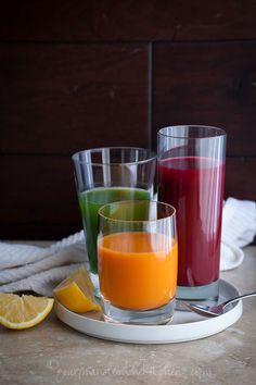 Trio of Vegetable Juices from @Sylvie | Gourmande in the Kitchen- Drinking Your Veggies
