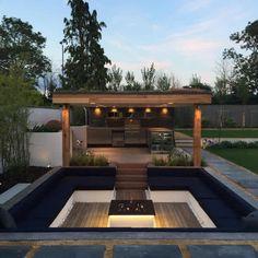 Backyard Seating, Backyard Patio Designs, Fire Pit Backyard, Backyard Landscaping, Backyard Ideas, Backyard Waterfalls, Firepit Ideas, Backyard Ponds, Garden Seating