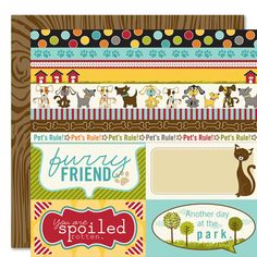 Bella Blvd - Tail Waggers and Cat Naps Collection - 12 x 12 Double Sided Paper - Borders N' Blocks at Scrapbook.com $1.07