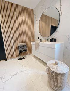 Scandinavian Bathroom decor ideas with Marble flooring and Wood Panel walls via @ingermgrams Wood Panel Bathroom, Vintage Bathroom Mirrors, Beige Bathroom, Wood Panel Walls, Bathroom Wall Decor, Bathroom Styling, Modern Bathroom, Bathroom Ideas, Bathroom Inspo