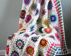 FLOWER POWER Crochet BLANKET Sunburst Granny Squares Afghan 50 x 50