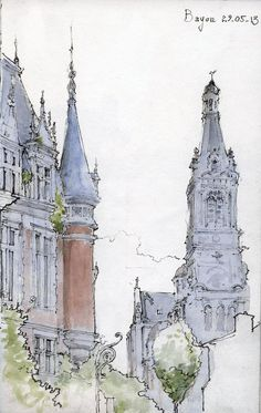 Beautiful Pencil and watercolor UrbanSketch, artist unknown. Flickr