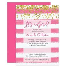 Baby Shower | Pink Gold Glitter Confetti Stripes Card - glitter glamour brilliance sparkle design idea diy elegant