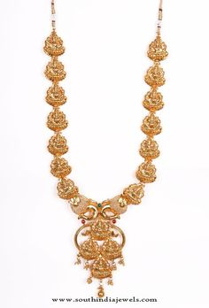 Gold Plated Temple Necklace Designs, Gold Plated Long Temple Necklace Designs.