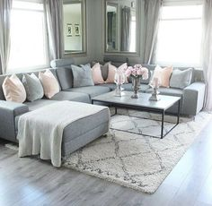 New living room grey couch sectional Ideas Living Room Decor Cozy, Rugs In Living Room, Interior Design Living Room, Home And Living, Bedroom Decor, Living Room Ideas With Grey Couch, Black White And Grey Living Room, Grey Living Room Furniture, Cozy Living