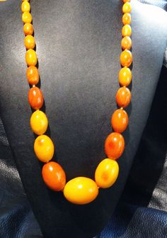 Antique Baltic Amber Necklace Butterscotch Egg by ElegantArtifacts, $8500.00