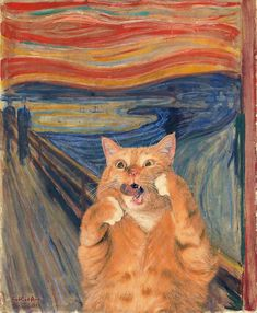 Adorable Fat Cat Invades the Most Famous Paintings in Art Hi.- Adorable Fat Cat Invades the Most Famous Paintings in Art History Celebrating - Most Famous Paintings, Famous Art, Fat Orange Cat, Orange Art, Red Cat, Blue Cats, Edvard Munch, Ginger Cats, Fat Cats