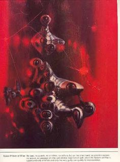 """A plate from Powers Portfolio. Space Prison of fFlar Original jacket art created for the book title """"Night of Delusions"""" (Published in Author Keith Laumer. Book Cover Art, Book Art, Book Covers, Richard Powers, Magazine Illustration, Creative Skills, Science Fiction Art, Retro Futurism, Sci Fi Art"""