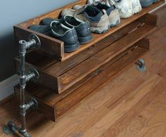 custom listing for steve handmade reclaimed wood shoe stand rack organizer with pipe stand legs