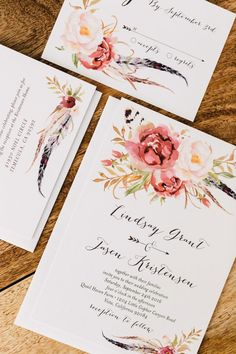 floral wedding invitations - photo by Plum and Oak http://ruffledblog.com/a-california-garden-wedding-with-romantic-florals
