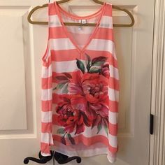 Elle Floral Tank Top EUC Pretty peach and white striped tank with lavender and green floral design on front. Fits more like small. No flaws. Only worn once. Elle Tops Tank Tops