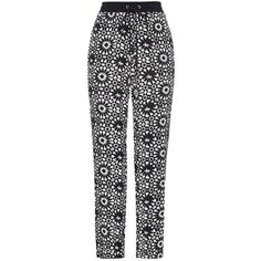 Whistles Helena Mosaic Trousers, Black/White ($72) ❤ liked on Polyvore featuring pants, slim pants, black white pants, slim fit trousers, white and black pants and slim fit pants