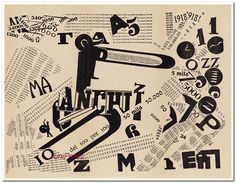 FILIPPO TOMMASO MARINETTI (1876-1944) [LES MOTS EN LIBERTÉ FUTURISTES.] Group of 4 typographic plates. 1919. Sizes vary. Edizioni Futuriste di 'Poesia,' Milan.  The tenets of Marinetti's Typographic Revolution (1913) are visually set forth in his typographic masterpiece, Les Mots en Liberté Futuristes (The Futurist Words in Freedom.) The book contains a creative and ingenious variety of hand-designed typefaces, calligraphy and dynamic layouts.
