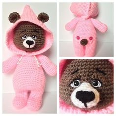 Beatrice Bear is the third in the series of PJ Pals! Cute and adorable, perfect for snuggles! Crochet amigurumi toy pattern available for download on Ravelry and Etsy