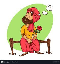 Free Punjabi man thinking of how to propose his girlfriend with rose in his hand Illustration Indian Illustration, Funny Illustration, Graphic Design Illustration, Graphic Art, Cartoon Sketches, Cartoon Art, Cartoon Illustrations, Cartoon Characters, Character Drawing