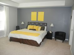 Our gray & yellow master bedroom. DIY artwork inspired by http://makeundermylife.com/no-paint-artwork-in-15-minutes/. Finished in 5 minutes for about 5 bucks.