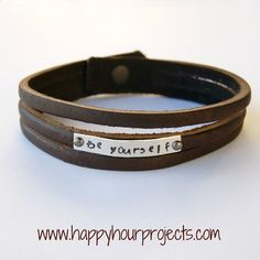 Happy Hour Projects: Hand-Stamped Gifts Tags with ImpressArt Metal Stamps.great tip to use pop cans for thin metal.easy to stamp! Leather Gifts, Leather Jewelry, Metal Jewelry, Jewelry Tags, Bullet Jewelry, Diy Jewelry, Geek Jewelry, Gothic Jewelry, Handmade Leather