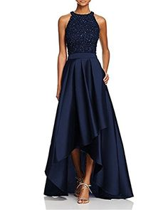 New Staypretty O Neck Beaded High Low Satin Prom Party Dress Strapless Long Women Modest Evening Gown online. [$109.99] offerdressforyou