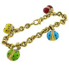 Estate  Enamel Diamond Lady Bug Charm 18k Yellow Gold Bracelet