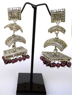 Three Layer German Silver Jhumkas/Jhumkis- Brown Beads