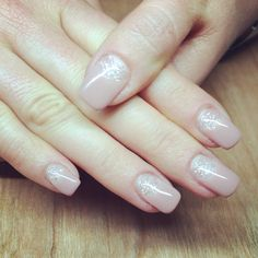 Nude with sweet nothing glitter moon gel nails