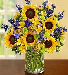 Fields of Europe™ for Summer Deluxe- freshest sunflowers, delphinium, alstroemeria, yarrow, daisy poms, monte casino and variegated pittosporum $74.99-$124.99 #sunflowers #summer #flowers