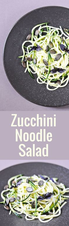 How to slice zucchini into noodles with a spiral slicer and make a simple salad with olive oil, lemon juice, cumin, toasted pumpkin seeds. and purple basil. Fun Easy Recipes, Vegetarian Recipes Easy, Side Recipes, Vegetable Recipes, Paleo Recipes, Summer Recipes, Zucchini Noodles Salad Recipe, Veggie Noodles, Toasted Pumpkin Seeds