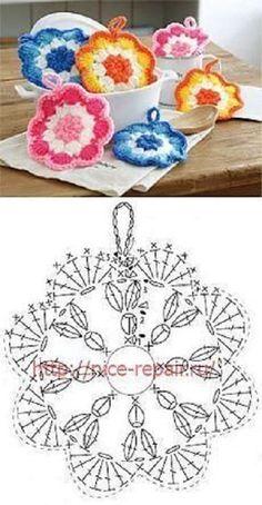Crochet Motifs, Crochet Circles, Crochet Potholders, Granny Square Crochet Pattern, Crochet Mandala, Crochet Diagram, Crochet Chart, Crochet Squares, Crochet Flower Tutorial