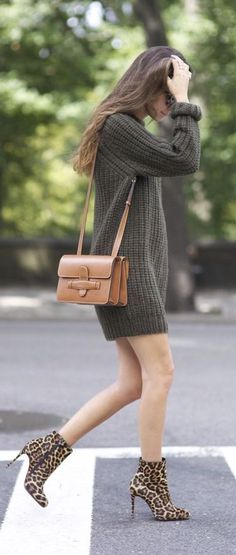 #fall #fashion / olive knit dress