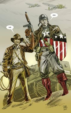 """Doc and Cap by Jesse Toves 2015, Cap is still working the Avengers, some new oddity has come up, they call in expert and in walks Dr.Jones, who has not aged. Cap, stunned: """"indiana?!… how?"""" Indi, glad to see his old drinking buddy, """"You know the grail myth? Yea, not a myth."""" I keep getting stuck on the idea that they might not get anything done because they'd try to one-up each other in terms of on-the-fly plans and how many ridiculous ways they can defeat nazis."""