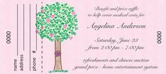 """Cancer Cures Collection Tree of Hope Ticket, 5 1/4"""" x 2 3/8"""", Number and Perf included, Minimum 100, only $40.00."""