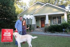 Cute picture idea for purchase of first home. Balloons with date on them.