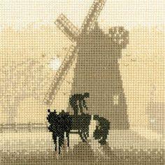 Windmill - Sepia Cross Stitch
