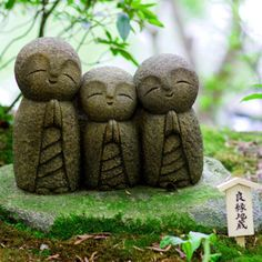 These are Jizo statues from Japan. Jizo was a Bhuddist monk. Children who die… Little Buddha, Garden Statues, Garden Sculptures, Stone Sculptures, Stone Art, Canvas Art Prints, Garden Inspiration, Framed Wall Art, Garden Art