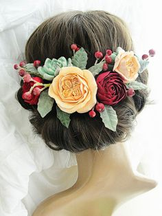 Christmas Flower Hair Crown Marsala Burgundy Beige Bridesmaids